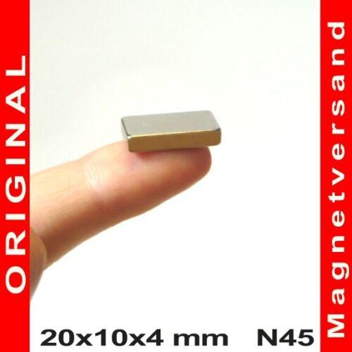 2 bis 100 Stück starke Neodym Quader Magnete 20x10x4 mm 20-10-4 mm N45 NdFeB