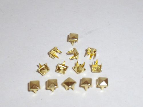 100 Pyramidennieten  Pyramiden Nieten 3,5x3,5 mm  gold  NEUWARE rostfrei