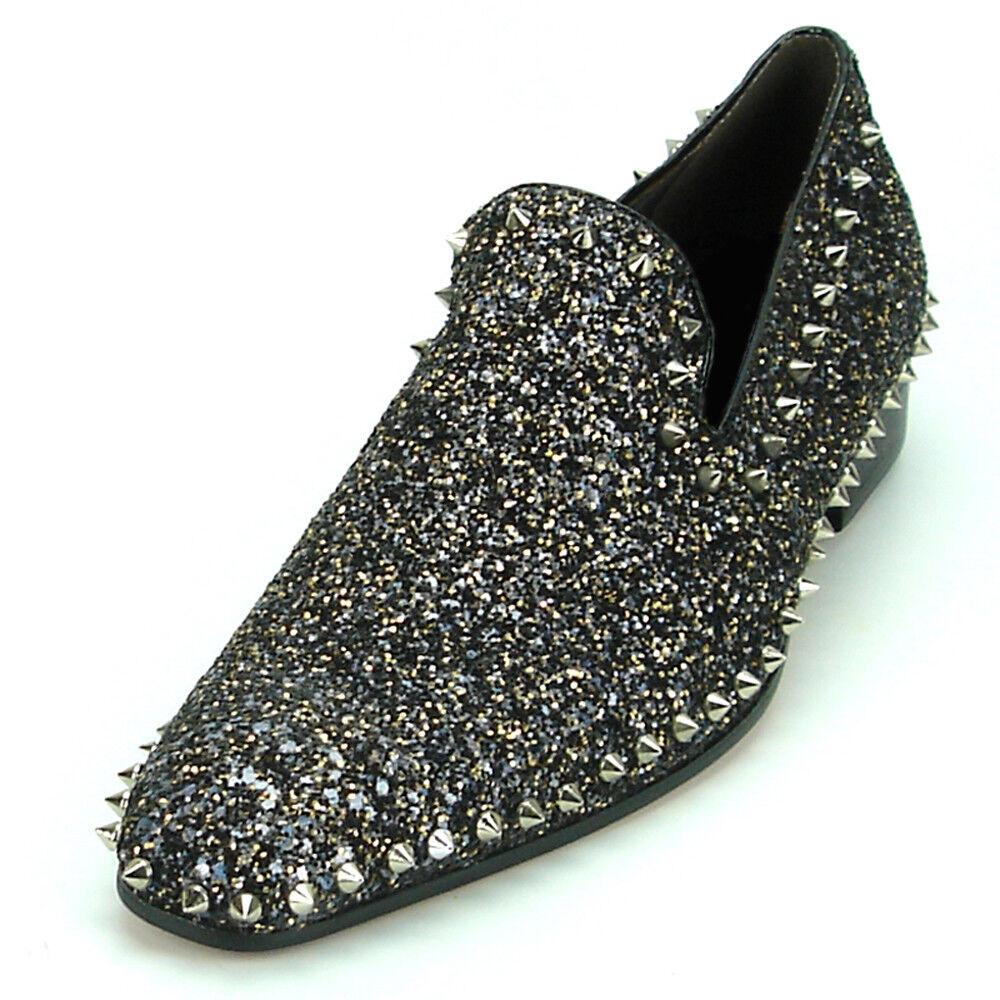 FI-7198 Black Glitter with Silver Studs around Slip on Fiesso by Aurelio Garcia