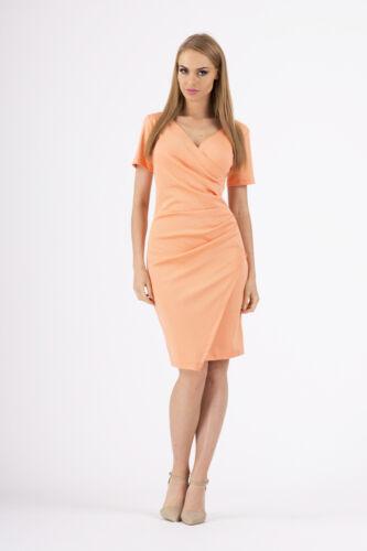 Très élégante robe de la Manche Courte Col V Crayon Tunique Tailles 8-16 FA272