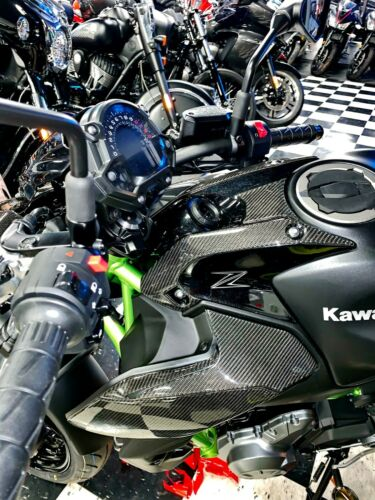 Real carbon fiber Fit Kawasaki Z650 front tank panel protector pads Trim overlay
