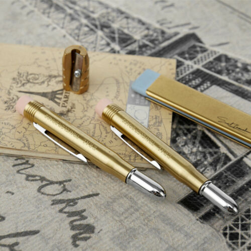 EDC Mini Brass Metal Pencil Office Solid Wood Pencil with Eraser Collectible Toy