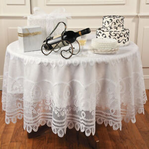 White-Vintage-Tablecloth-Floral-Lace-Table-Cover-Wedding-Party-Decor-Round-82-034