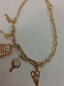 18K-Yellow-Gold-Scissors-Tennis-Bag-Key-Comb-Charm-Bracelet-5-3-Grams-8-034-women