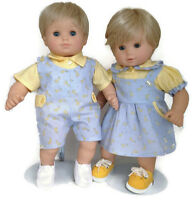 Boy & Girl Blue Giraffe Outfits Fits 15 Bitty Baby & Twin Doll Clothes