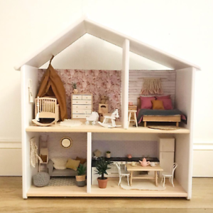 Wooden Doll House Systems (from Australia) White (and wall paper)
