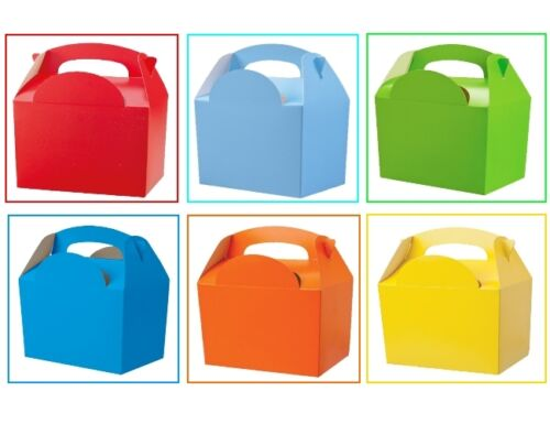 100 Boys Assorted Plain Coloured Childrens Meal Food Birthday Party Bag Boxes