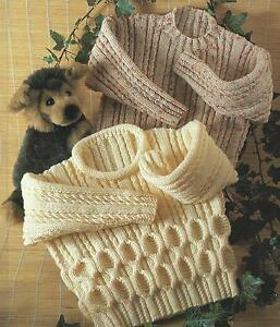 Childs Aran Jumper Knitting Pattern : Childs Boys Girls Aran Knitting Pattern Sweater 23-32
