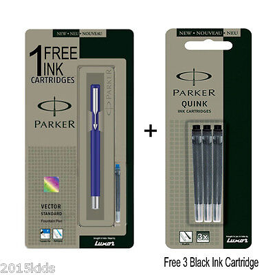 Blue Special Gift 3 ink Cartridge Office Parker Vector Standard Fountain Pen