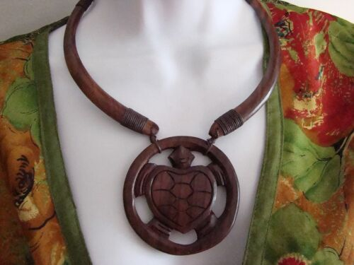 Handcarved wooden turtle necklace sono wood necklace jewelry handmade Indonesia