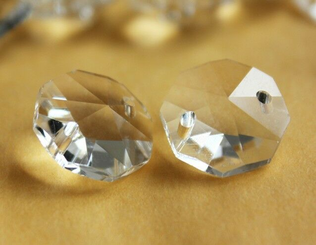 50PCS CLEAR 18MM GLASS OCTAGON BEAD CRYSTAL PRISM CHANDELIER CHAIN PART 0022