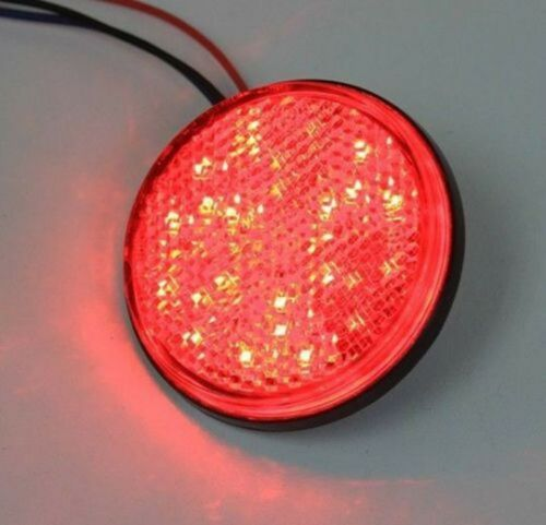 New 2x Round Reflector LED Red Tail Brake Stop Light Universal Car Auto Truck