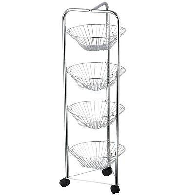 Four Tier Kitchen Trolley Fruit Basket Vegetable Storage Stand By Home Discount