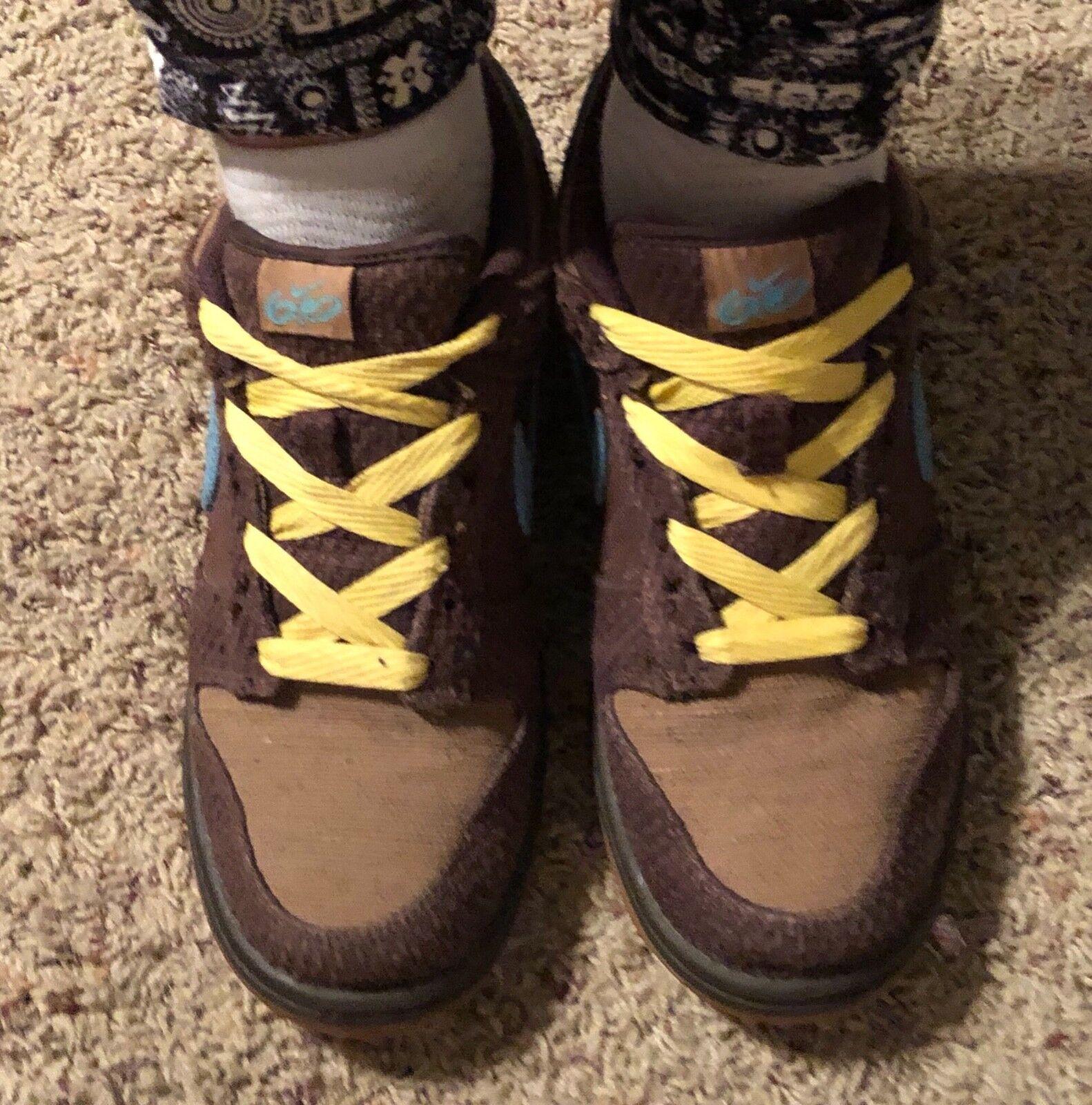 Nike Hemp 6.0 Low Dunks Brown & Blue Sz 7.5