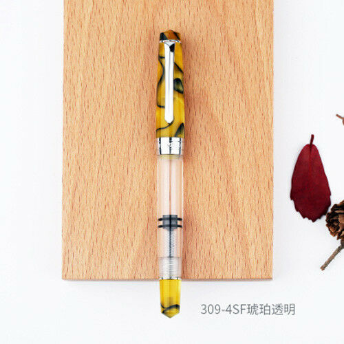 New Penbbs 309 Transparent Optional Piston Fountain Pen Fine Nib 0.5mm Screw Cap