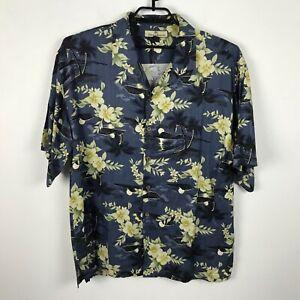Tommy-Bahama-Shirt-Size-XL-Silk-Blue-Green-Floral-Palm-Trees-Hawaiian-Aloha-Mens