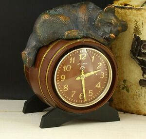 Vintage USSR Soviet table clock Molnija Bear on a barrel. working condition