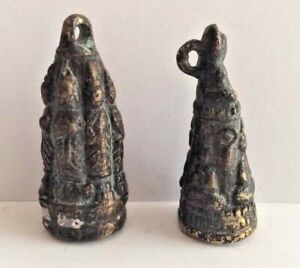 LOT-2-Amulette-statuette-pendentif-bronze-cuivre-BOUDDHA-GRELOT-Cambodge-P73