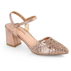 296fdb98650ac Details about PLEASER 2 3 4 Heel Pointed Toe Rose Gold Shimmer Rhinestone  Ankle Strap Pumps