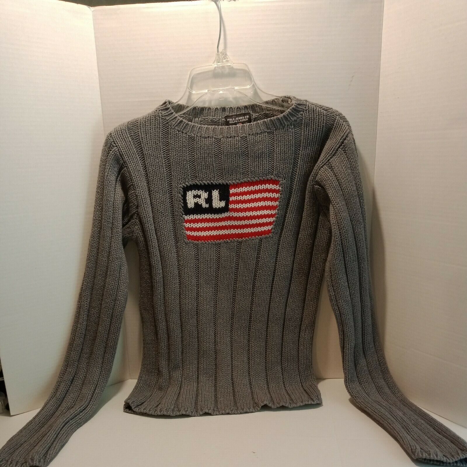 Vintage Ralph Lauren Classic USA Flag Sweater siz… - image 1