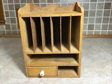 Vintage Wooden Desk Mail Organizer Sorter Desk Caddy 10 Tall 7 12 Wide