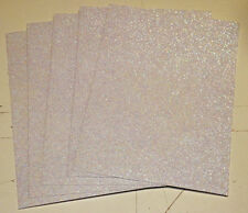 "vinyl self adhesive white iris glitter flake 5""x 7"" x 5 mil thk (5)sheets"