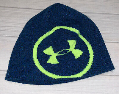 NWT MSRP $22 Under Armour Boys Youth OSFM Winter Beanie Hat LIME ONE SIZE