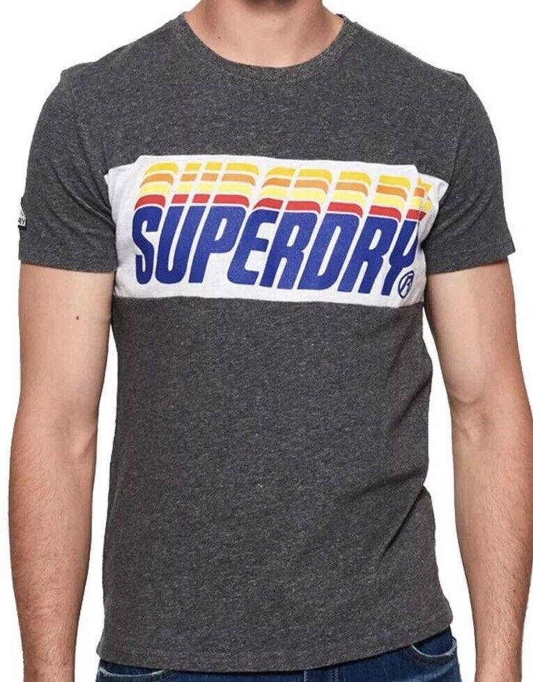 SuperDry Adult Size 2XL Triple Drop Pop Panel S S Shirt Charcoal Birdseye Top