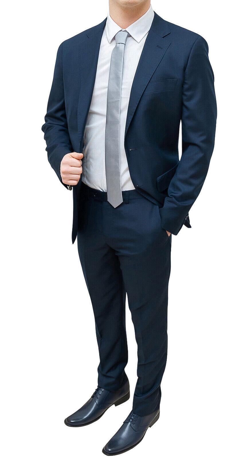 Traje hombre completo blue oscuro slim fit americana chaqueta con pantalones