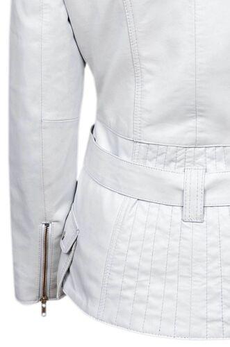 New Ladies Feminine White Jacket Italian Real Nappa Leather Casual Style Design