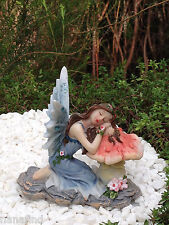Miniature Figurine FAIRY GARDEN ~ Sleeping Blue Glitter Fairy on Mushroom ~ NEW