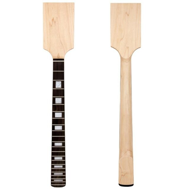 Right Handed Paddle Electric Guitar Neck Maple Block Inlay Unfinished 22 Fret