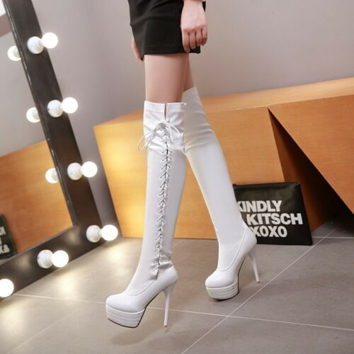 Womens Platform Strappy Over Knee Thigh Boots Stilettos High Heels Shoes