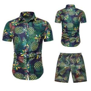 Sommer-Maenner-Shirts-Shorts-Print-Shirt-Strand-Shorts-Tops-Urlaub-A-JMDE