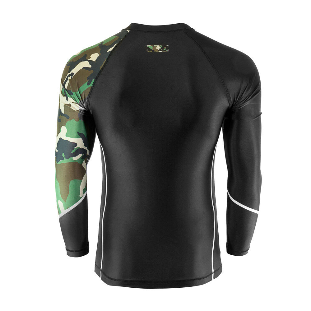 d492195599b Details about Bad Boy MMA Soldier Forest Green Camo Rash Guard Training Top  Gym BJJ UFC