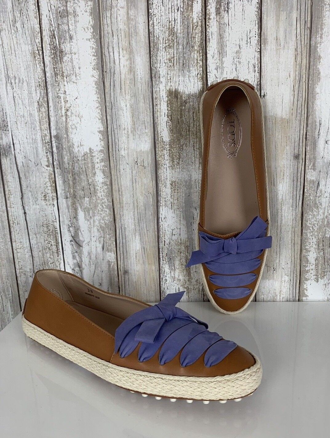645 Tod'S tan Azul Cuero Con Cordones GOMMINO GOMMINO GOMMINO Slip On Alpargatas Flats 38 Rara  tienda en linea