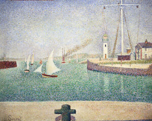 Entrance of The Port of Honfleur by Georges Seurat 60cm x 48cm Art Paper Print
