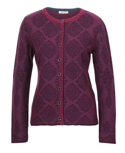 Lila Merino jacke Merino Bordeaux Plum Ornamente Wool Ivko 82615 Pflaume PBEYw