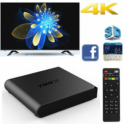 T95X S905X Android 6.0 Smart TV Box Quad Core 4K Quad Core Wifi Fully Loaded