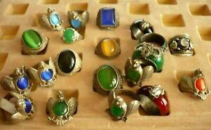 20-wuchtige-Steinschmuck-Ringe-Jade-Adler-Schmuck-Paket-Tibet-Silber-Posten-NEU