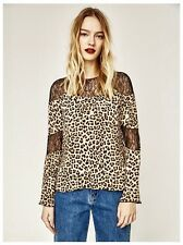 New Zara Women Animal Leopard Print Top Shirt Blouse Contrast Frill Small