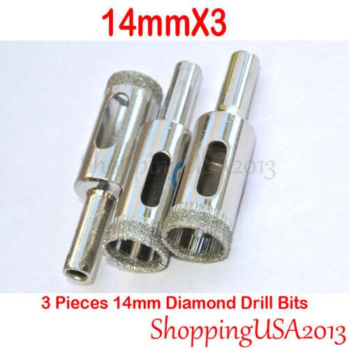 14mm X3 Diamond Drill Bit Chucks Hole Saw Cutter Tool Glass Marlbe Granite Tile@