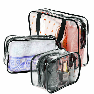 3pcs Clear Cosmetic Toiletry PVC Travel Wash Makeup Bag Holder Pouch Organizer