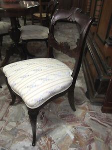 4 Sedie Antiche.Dettagli Su Sedia 4 Sedie Antiche Mogano Salotto Gioco Piccole Eleganti Tappezzate