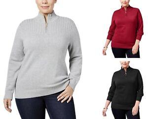 Karen Scott Women's Plus Size 1/4 Zip Mock Neck Sweater - Select size/color