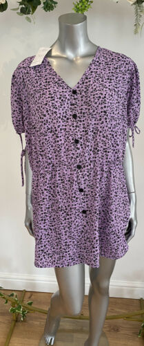 Influence Smock Dress Top Curve Floral Dress Size 24 New EL35 Lilac Shadow