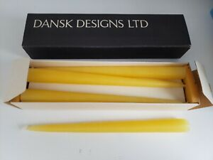 DANSK-DESIGNS-Taper-Candles-Set-of-8-Orig-box-5-8-034-x-8-1-4-034-Style-1818-Yellow