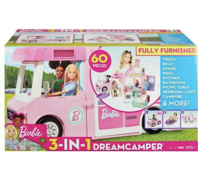 Barbie 3-In-1 Dreamcamper Vehicle With Pool, Truck, Boat And 50 Accessories NEW