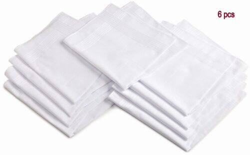 WHITE COTTON HANKIES 6 PCS PURE SOFT COTTON PLAIN HANKIES HANKERCHIEF 6 PCS