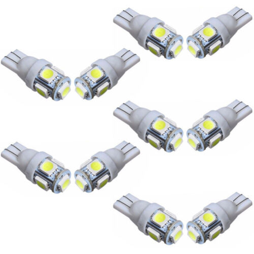 10x 5 SMD LED 501 T10 W5W PUSH WEDGE CAPLESS BRIGHT WHITE SIDE LIGHT BULBS